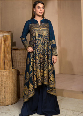 LimeLight Printed Khaddar Unstitched Kurties LL19W U0909 Blue - Winter Collection