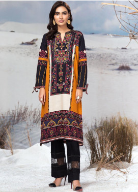 LimeLight Printed Khaddar Unstitched Kurties LL19W U0916 Ochre - Winter Collection