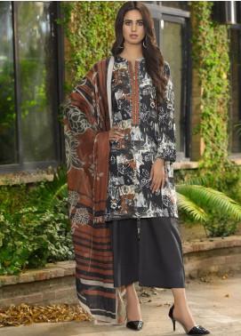 LimeLight Printed Khaddar Unstitched 2 Piece Suit LL19W U0920 Ochre - Winter Collection