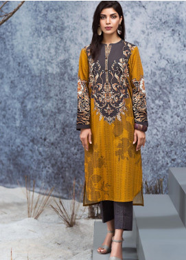 LimeLight Printed Khaddar Unstitched Kurties LL19W U0922 Ochre - Winter Collection