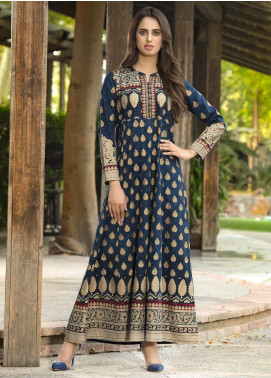 LimeLight Printed Khaddar Unstitched Kurties LL19W U0940 Blue - Winter Collection
