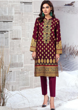LimeLight Printed Khaddar Unstitched Kurties LL19W U0940 Plum - Winter Collection