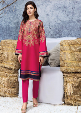 LimeLight Printed Cotton Unstitched Kurties LL19W U0942 Pink - Winter Collection