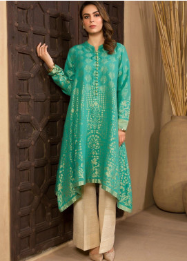 LimeLight Printed Jacquard Unstitched Kurties LL19W U0969 Aqua - Winter Collection