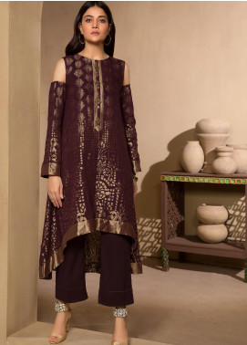 LimeLight Printed Jacquard Unstitched Kurties LL19W U0969 Plum - Winter Collection