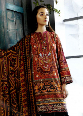 LimeLight Printed Khaddar Unstitched 2 Piece Suit LL18-W3 587 Black - Winter Collection
