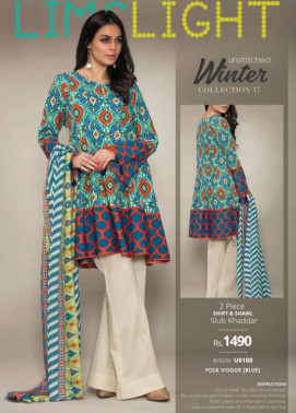 Lime Light Embroidered Khaddar Unstitched 2 Piece Suit LL17W 108 Blue