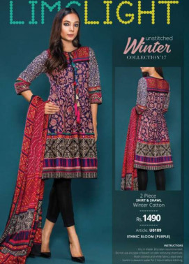 Lime Light Embroidered Khaddar Unstitched 2 Piece Suit LL17W 109 Purple