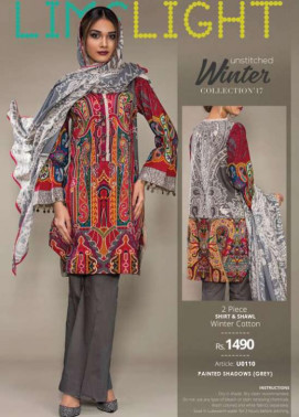 Lime Light Embroidered Khaddar Unstitched 2 Piece Suit LL17W 110 Grey