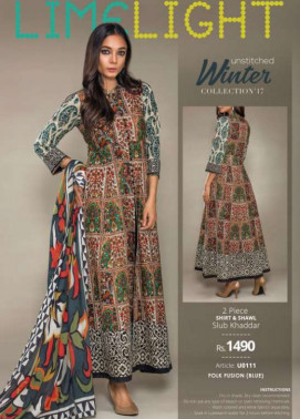 Lime Light Embroidered Khaddar Unstitched 2 Piece Suit LL17W 111 Blue