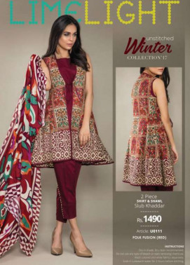 Lime Light Embroidered Khaddar Unstitched 2 Piece Suit LL17W 111 Red