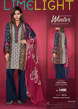 Lime Light Embroidered Khaddar Unstitched 2 Piece Suit LL17W 112 Blue