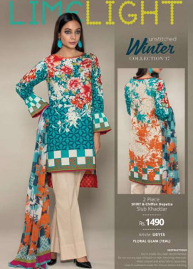 Lime Light Embroidered Khaddar Unstitched 2 Piece Suit LL17W 113 Teal