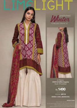 Lime Light Embroidered Khaddar Unstitched 2 Piece Suit LL17W 114 Maroon