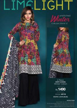 Lime Light Printed Khaddar Unstitched 2 Piece Suit LL17W 116 Blue