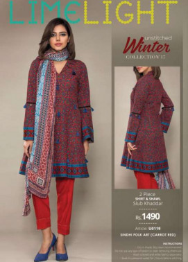 Lime Light Embroidered Khaddar Unstitched 2 Piece Suit LL17W 119 Red
