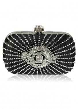 Fashion OnlySatin Clutch Bags  for Women  Black with Crystal-Encrusted Skull Clasp