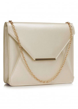 Leesun London   Clutch Bags  for Women  Ivory with Plain Texture