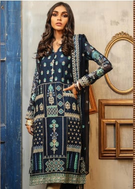 Lakhany Embroidered Cotton Net Unstitched 3 Piece Suit LSM19D 9901 - Summer Collection