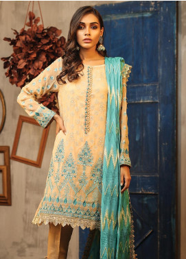 Lakhany Embroidered Zari Net Unstitched 3 Piece Suit LSM19D 9902 - Summer Collection