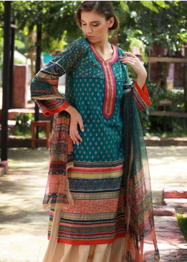 Lakhany Embroidered Cotton Cotel Unstitched 3 Piece Suit LSM18KN 512 - Luxury Collection