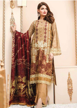 Lakhany Embroidered Cotton Net Unstitched 3 Piece Suit LSM19F 5001 EQUISITE GOLD - Festive Collection