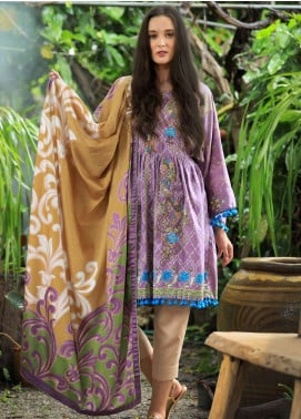 Lakhany Embroidered Cotton Satin Unstitched 3 Piece Suit LSM18FF 2B - Feral Flowery Collection