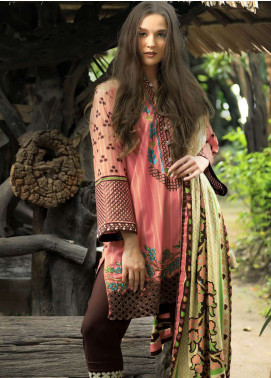Lakhany Embroidered Cotton Satin Unstitched 3 Piece Suit LSM18FF 4B - Feral Flowery Collection