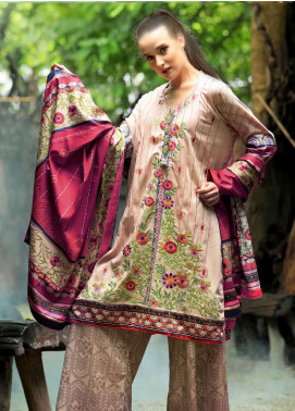 Lakhany Embroidered Cotton Satin Unstitched 3 Piece Suit LSM18FF 5B - Feral Flowery Collection
