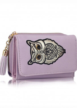 Anna Grace London Faux Leather Wallet   for Women  Lavender with Smooth Texture|Grainy
