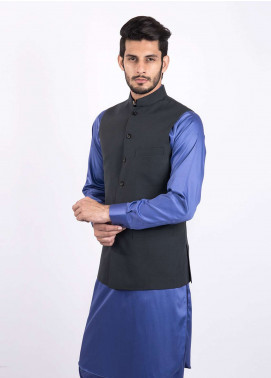 Lawrencepur Wool Blend Plain Texture Men Waistcoats - Black LW18W 04