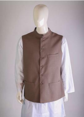 Lawrencepur Cotton Plain Texture Men Waistcoats - Brown LW18W 01