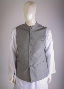 Lawrencepur Cotton Plain Texture Men Waistcoats - Grey LW18W 03