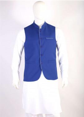 Lawrencepur Wool Blend Plain Texture Waistcoats for Men - Royal Blue LW18W 08