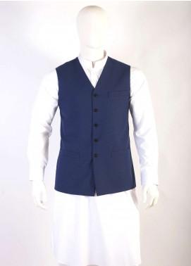 Lawrencepur Wool Blend Plain Texture Waistcoats for Men - Blue LW18W 10
