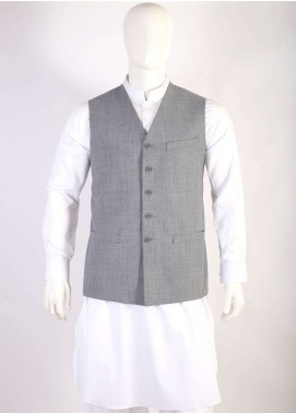 Lawrencepur Wool Blend Plain Texture Men Waistcoats - Light Grey LW18W 11