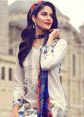 Mahiymaan By Al Zohaib Embroidered Lawn Unstitched 3 Piece Suit MAH18L 13 - Spring / Summer Collection