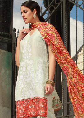 Mahiymaan By Al Zohaib Embroidered Lawn Unstitched 3 Piece Suit MAH18L 8A - Spring / Summer Collection