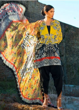 Maheen Karim by ZS Textile Embroidered Lawn Unstitched 3 Piece Suit MK19L 01 OMBRE NOIRE - Spring / Summer Collection