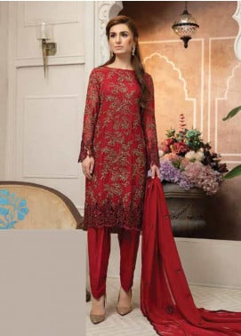 Mahi by Marwat Textiles Embroidered Chiffon Unstitched 3 Piece Suit MMT19C 06 - Luxury Collection