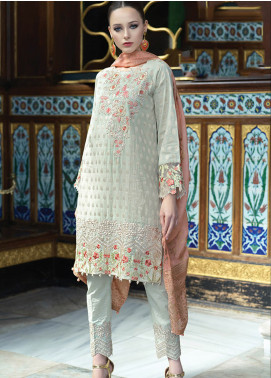 Mahiymaan By Al Zohaib Embroidered Jacquard Unstitched 3 Piece Suit MAH19E 11 - Festive Collection