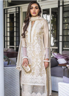 Mahrukh By ZS Embroidered Organza Unstitched 3 Piece Suit MHK18VC 03 - Luxury Collection