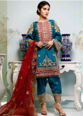 Maison Embroidered Cotton Silk Unstitched 3 Piece Suit MSN20L 1001 - Luxury Collection