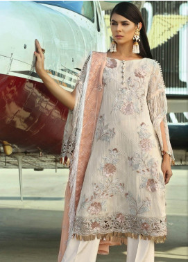 Majestic By EmbRoyal Embroidered Chiffon Unstitched 3 Piece Suit EMB19EE 03 IVORY GLAMOUR - Luxury Collection