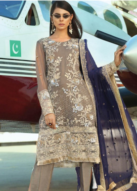Majestic By EmbRoyal Embroidered Chiffon Unstitched 3 Piece Suit EMB19EE 04 CHARCOAL - Luxury Collection