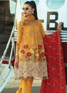 Majestic By EmbRoyal Embroidered Chiffon Unstitched 3 Piece Suit EMB19EE 06 EXTRAVAGANT MUSTARD - Luxury Collection