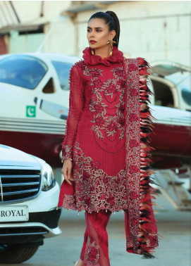 Majestic By EmbRoyal Embroidered Organza Unstitched 3 Piece Suit EMB19EE 08 ROYAL RUBY - Luxury Collection