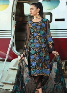 Majestic By EmbRoyal Embroidered Chiffon Unstitched 3 Piece Suit EMB19EE 10 LUXURIOUS BLACK - Luxury Collection
