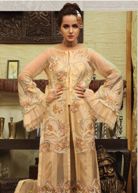 Majestic By EmbRoyal Embroidered Chiffon Unstitched 3 Piece Suit EMB19WQ 01 IMPERIAL KHAKI - Luxury Collection