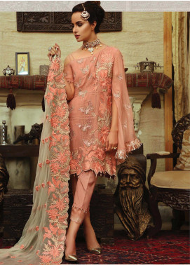 Majestic By EmbRoyal Embroidered Chiffon Unstitched 3 Piece Suit EMB19WQ 02 MAGNIFICIANT BLUSH - Luxury Collection